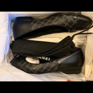 Chanel Black Leather Ballerina Flats